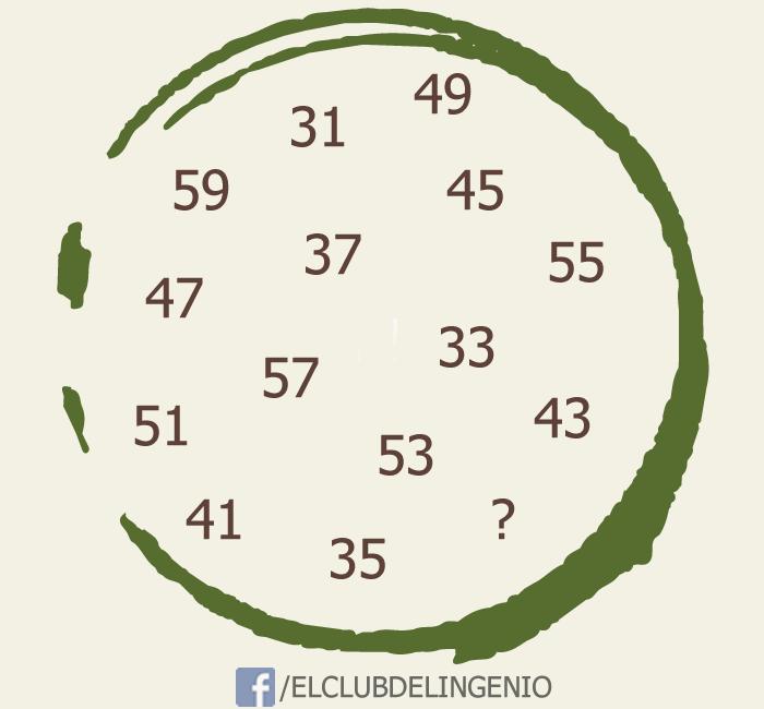 Razona y completa la serie con el número que falta