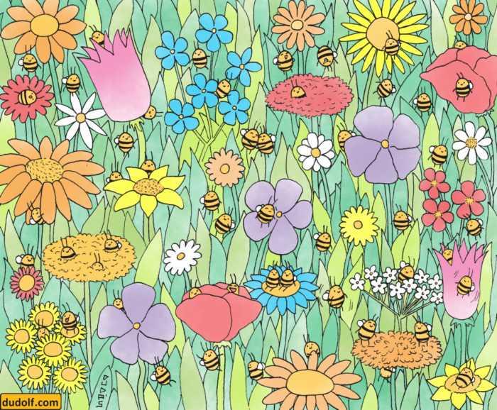 Muchas abejas para jugar y entrenar la percepción visual