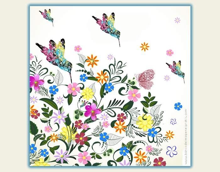 Los colibríes en un paisaje primaveral