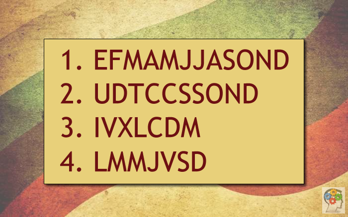 Cuatro grupos de letras con lógica