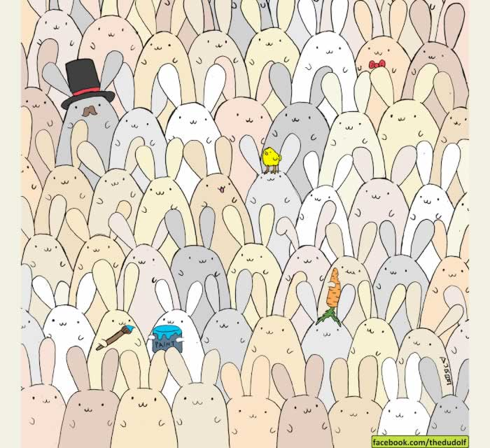 Los conejos y un intruso. Juego de percepción visual