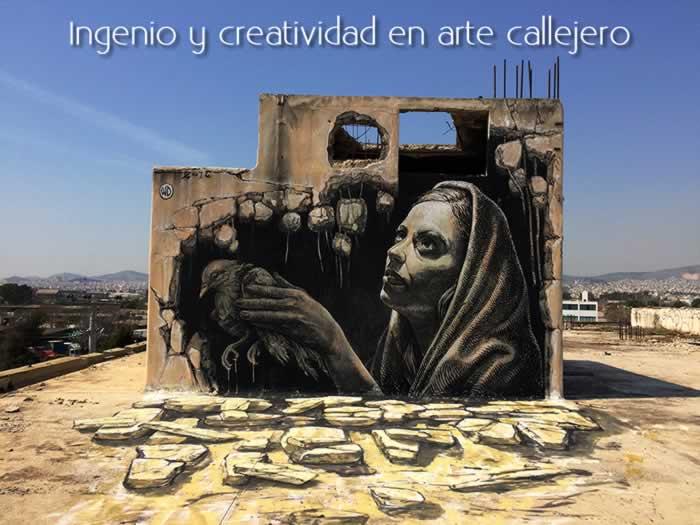 Ingenio y creatividad en arte callejero