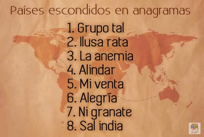 Países escondidos en anagramas. Un juego de inteligencia verbal