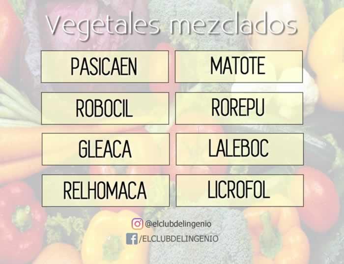 Encuentra los nombres de estos vegetales desordenados