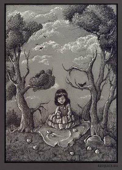 La nena juntando frutos. Ilusión visual