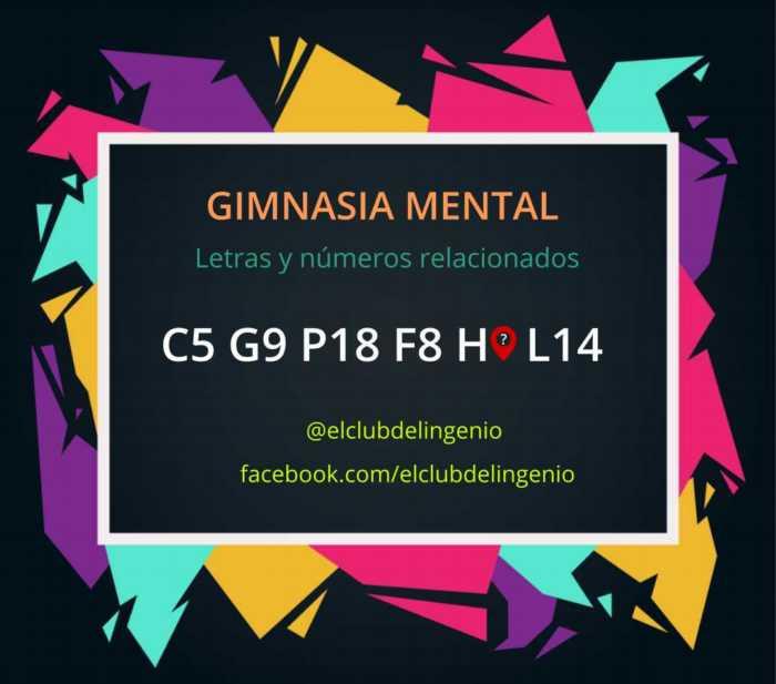 Una serie de números y letras relacionados para hacer gimnasia mental
