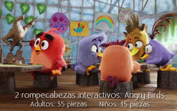 2 rompecabezas interactivos de 15 y 35 piezas: Angry Birds