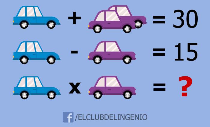 Rompecabezas lógico matemático con autos