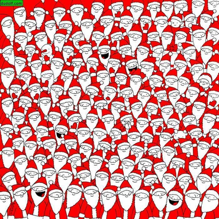 Encuentra todo lo escondido entre los Papá Noel