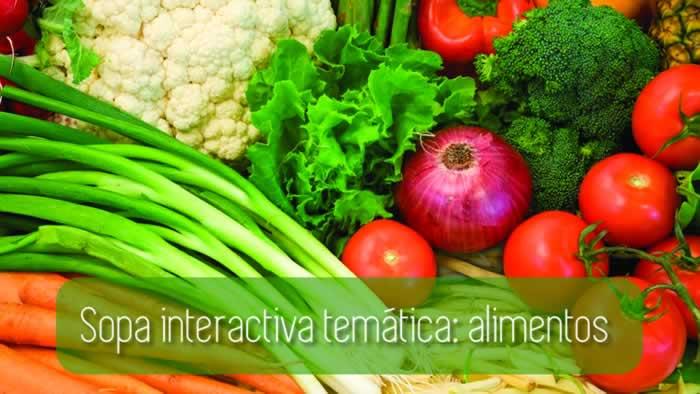 Sopa interactiva temática: alimentos