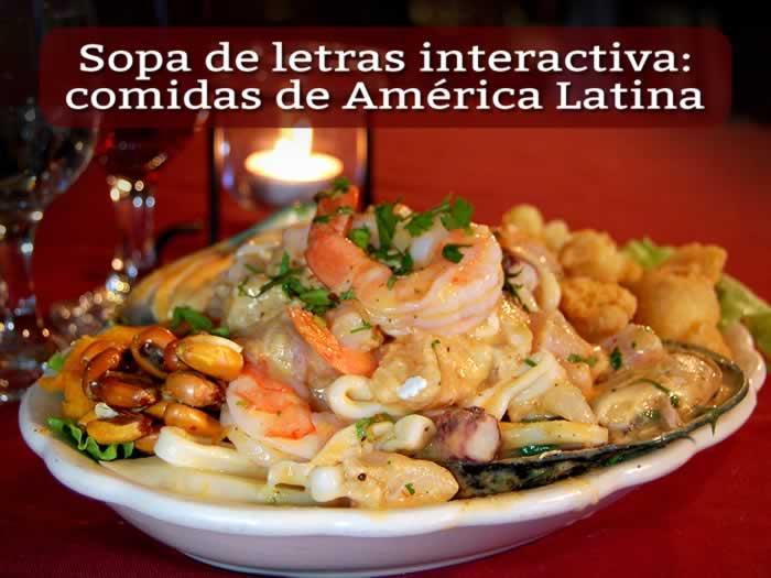 Sopa de letras interactiva: comidas de América Latina