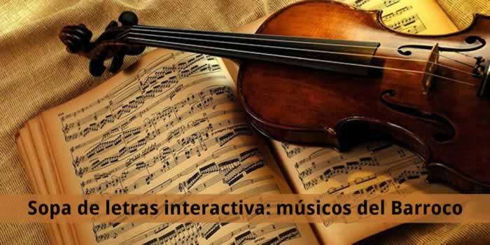 Sopa interactiva temática: músicos del Barroco