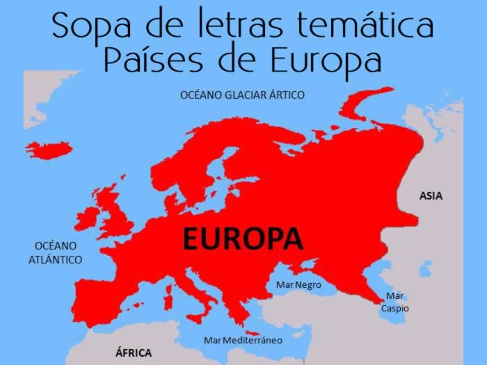 Sopa de letras interactiva temática: países de Europa