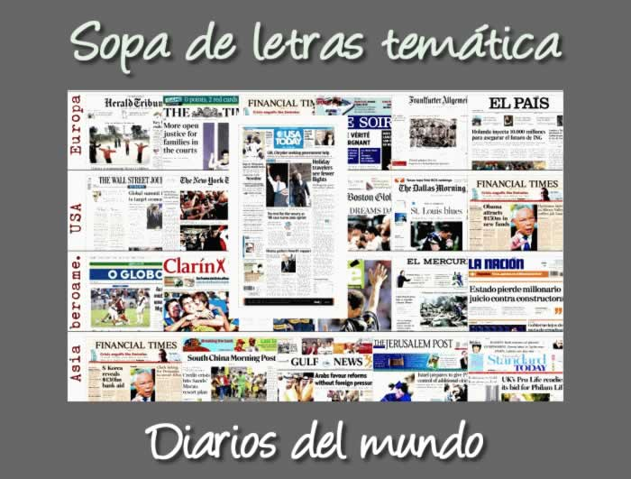 Sopa de letras interactiva: diarios de todo el mundo