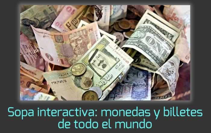 Sopa de letras interactiva: monedas y billetes de todo el mundo