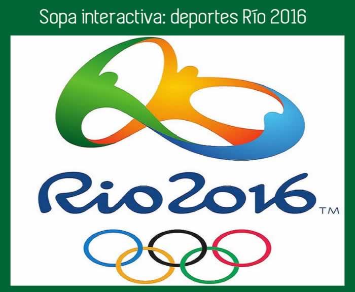 Sopa de letras interactiva: deportes Río 2016