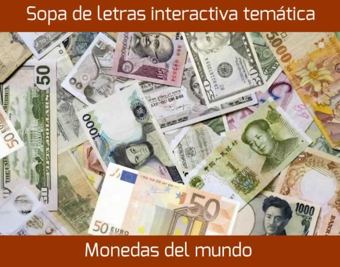 Sopa de letras temática: Monedas del mundo