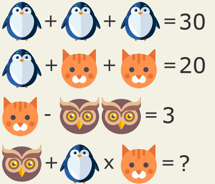 Resuelve esta expresión matemática con animales