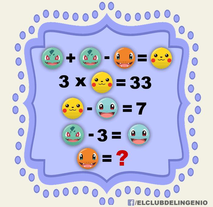 Aritmética con personajes de Pokémon