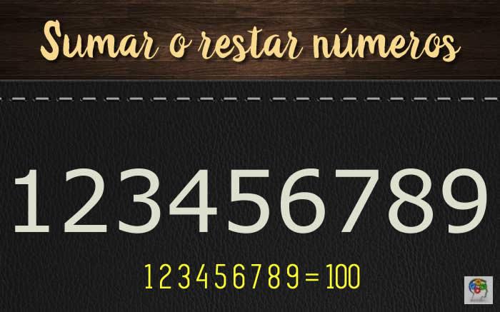 Sumar y restar números para obtener 100