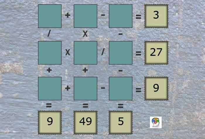 Calcula y resuelve este tablero matemático