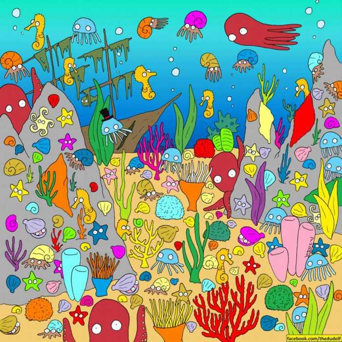 Encuentra al pez camuflado en el fondo del mar